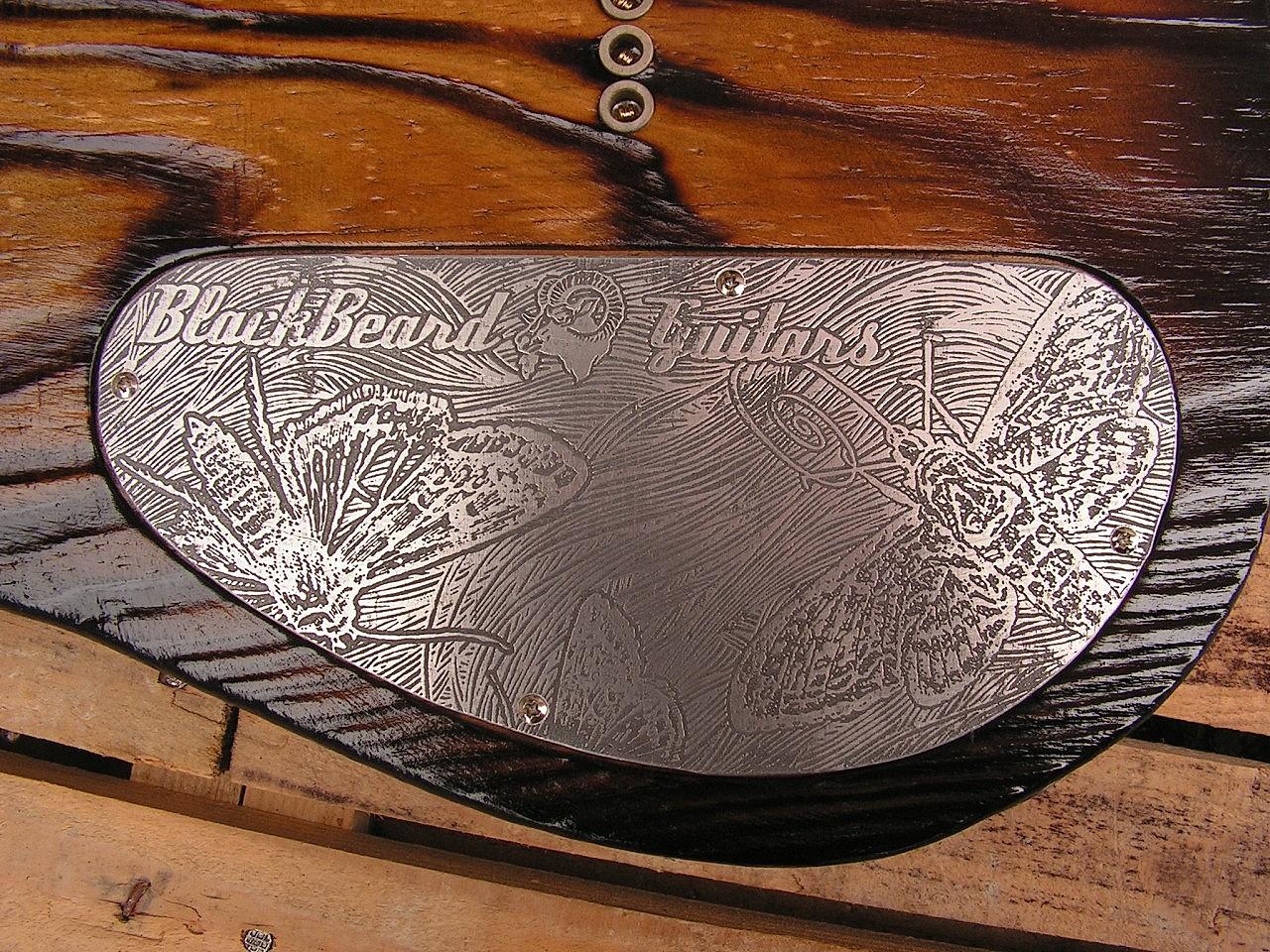Coperchio inciso sul retro del body di una chitarra Telecaster Thinline in pino roasted