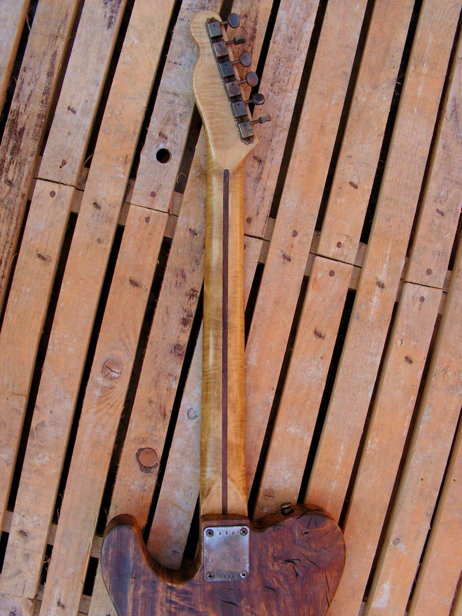 Retro del manico in acero di una Telecaster in pioppo secolare