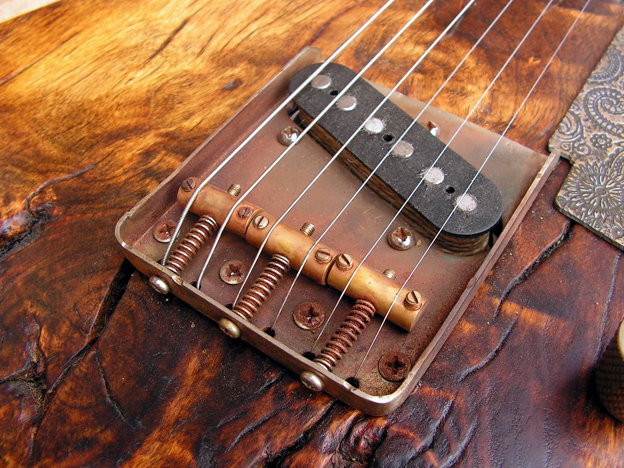 Pickup Telecaster al ponte di una chitarra elettrica in pioppo secolare
