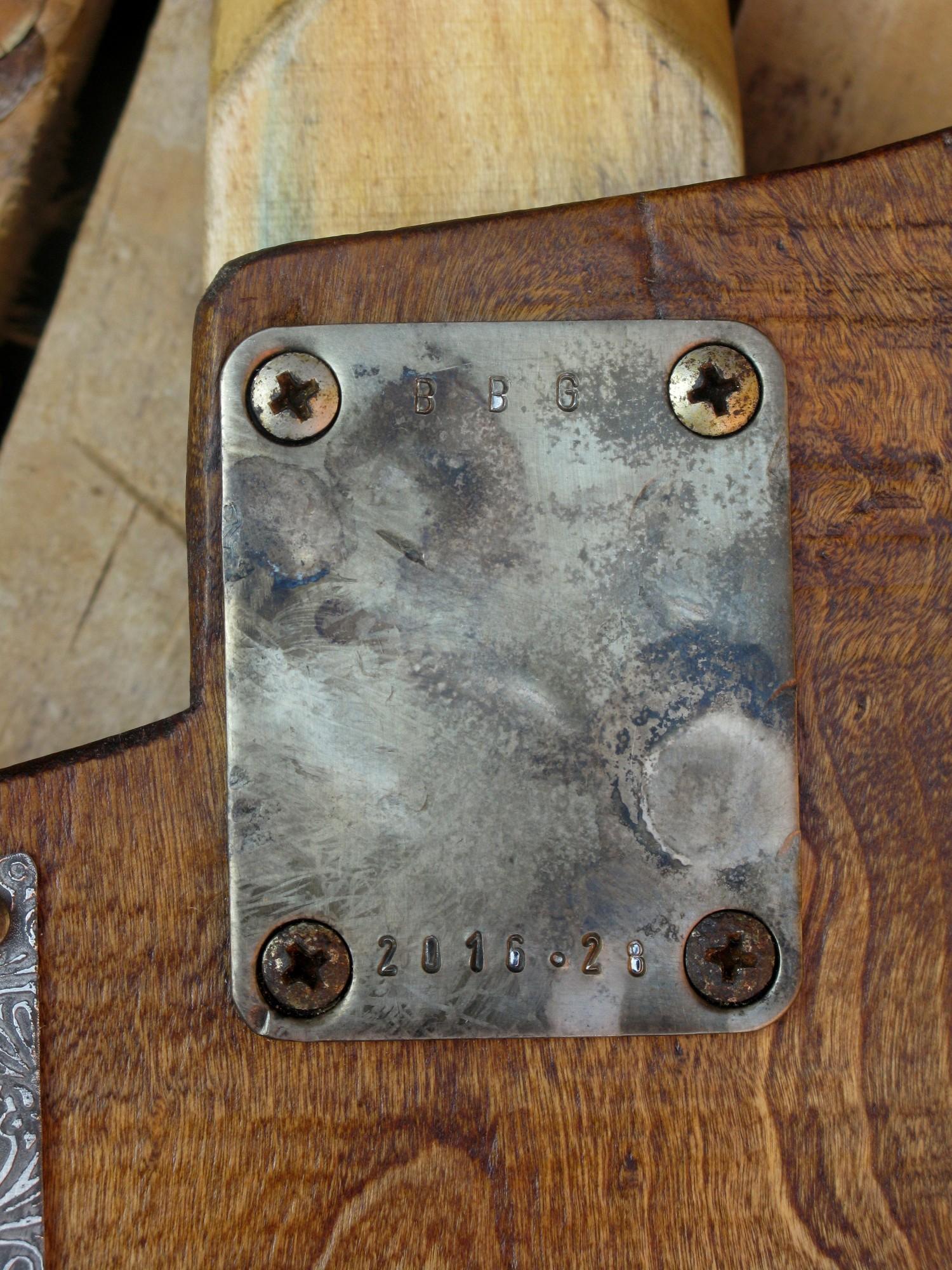 Piastra manico sul retro del body in pioppo di una chitarra elettrica con manico in acero