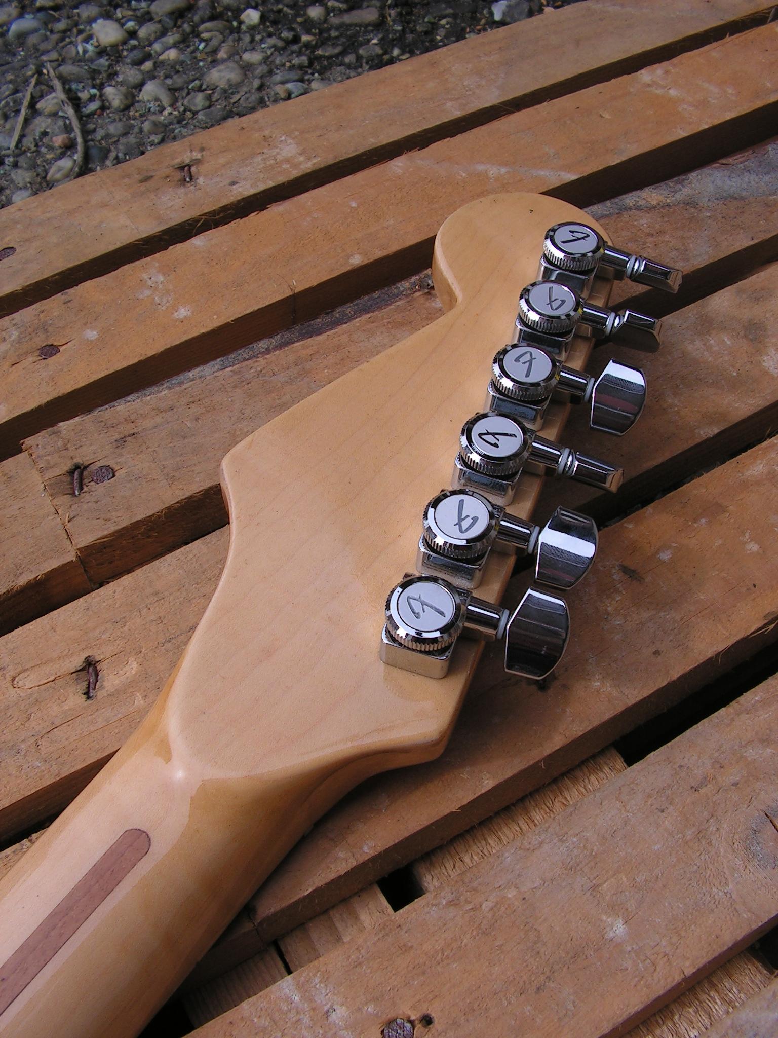 Retro della paletta in acero di una chitarra Stratocaster con due humbucker