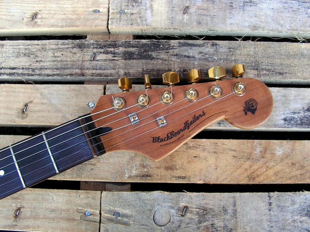 Paletta in acero di una chitarra Stratocaster in mogano e noce