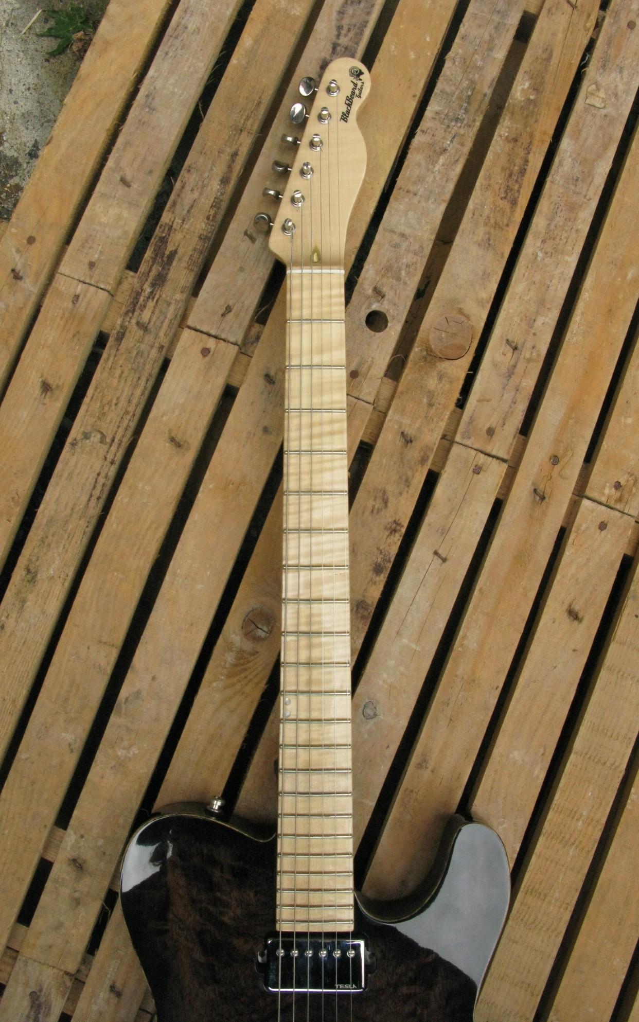 Manico in acero di una chitarra elettrica in pioppo