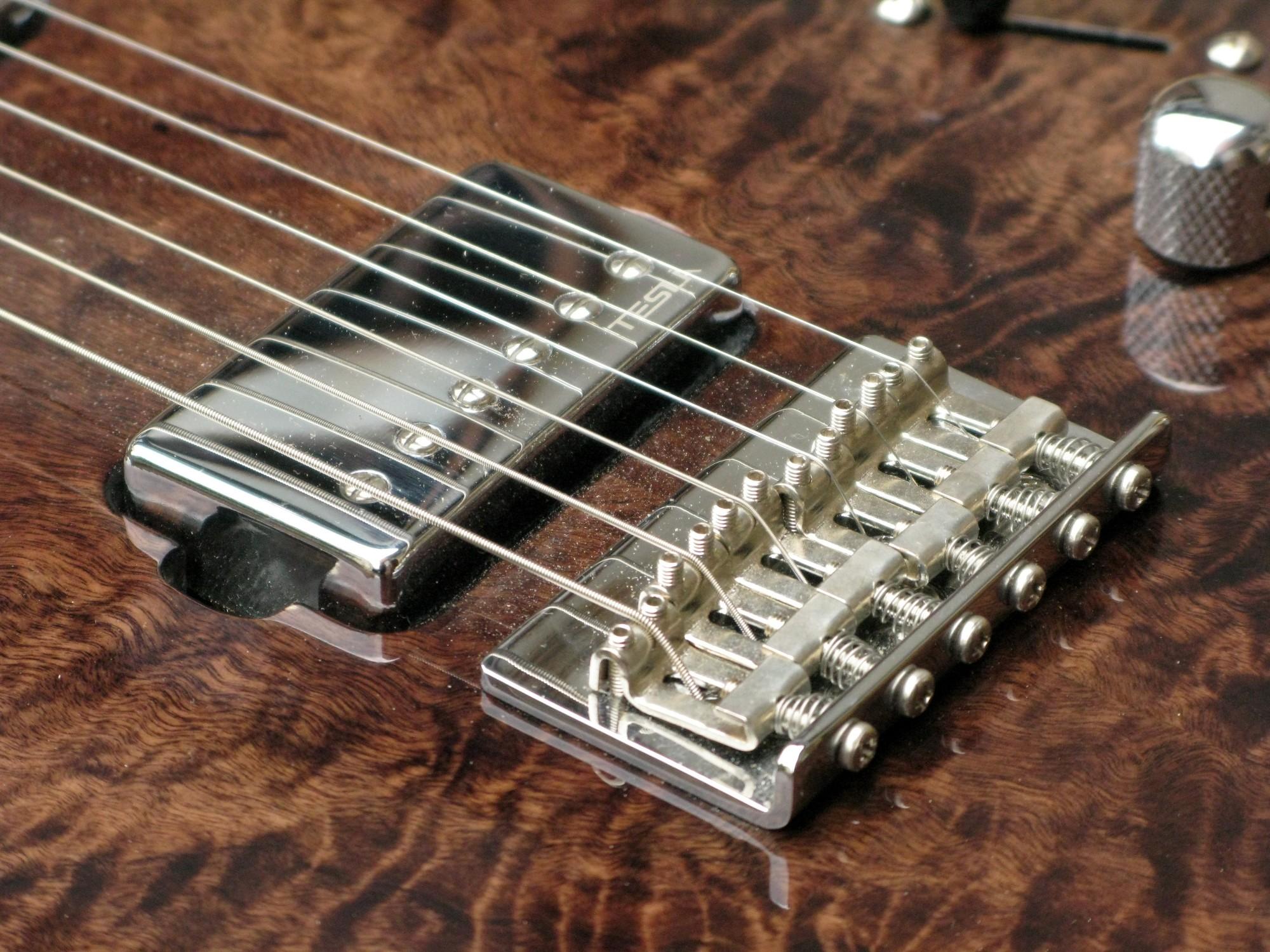 Pickup al ponte di una chitarra elettrica in pioppo