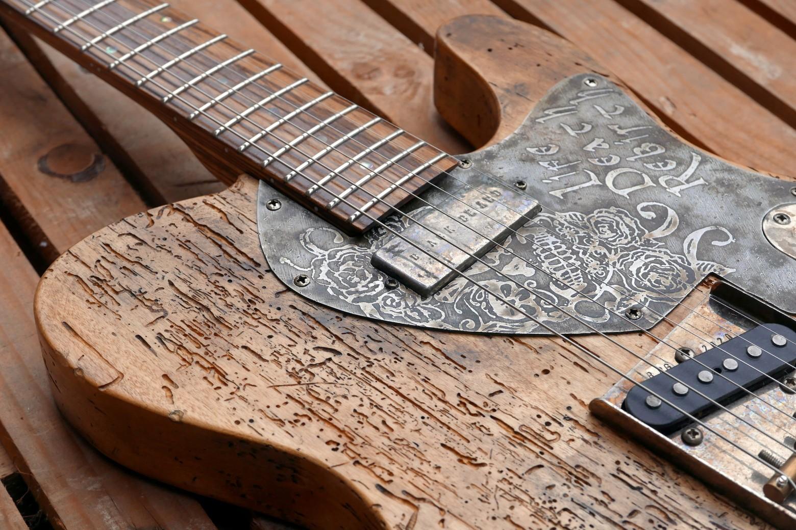 legno tarlato e pickup chitarra