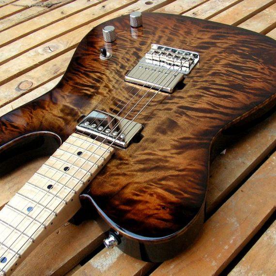 body chitarra pioppo fiammato